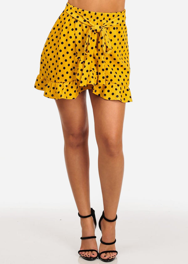 Casual Cute Mustard Polka Dot Mini Skirt W Tie Belt