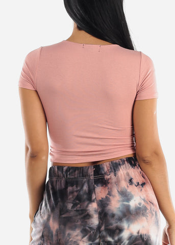 Mauve Wrap Front Crop Top