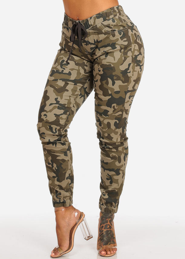 Camouflage Print Skinny Jogger Pants