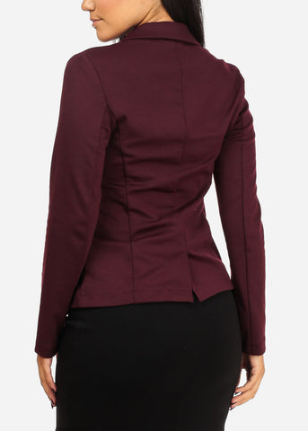Classic One Button Burgundy Blazer