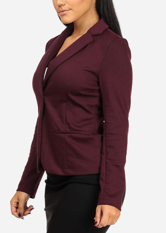 Image of Classic One Button Burgundy Blazer