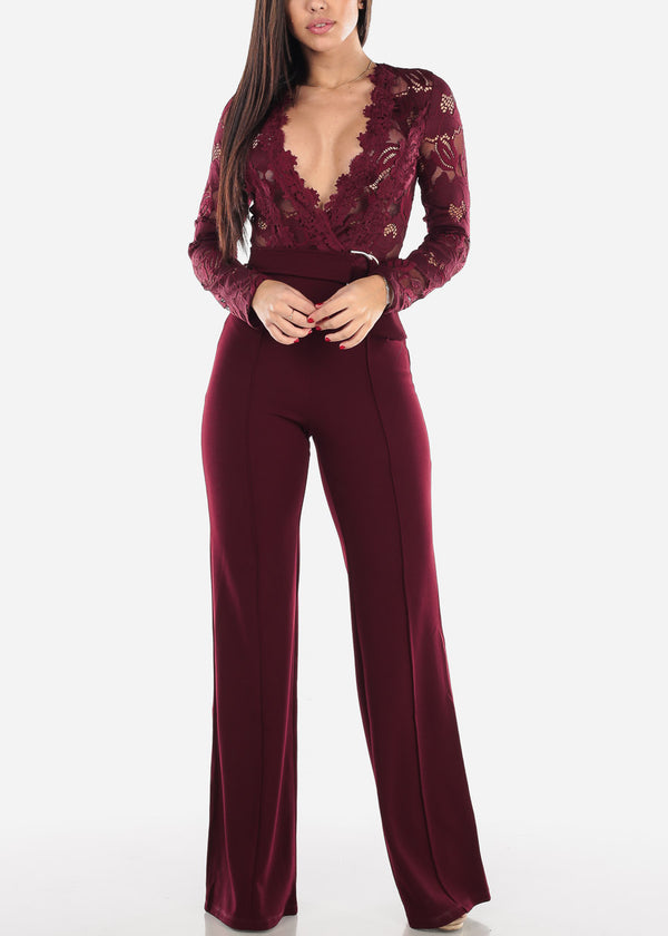 Lace Bodice Wine Jumpsuit