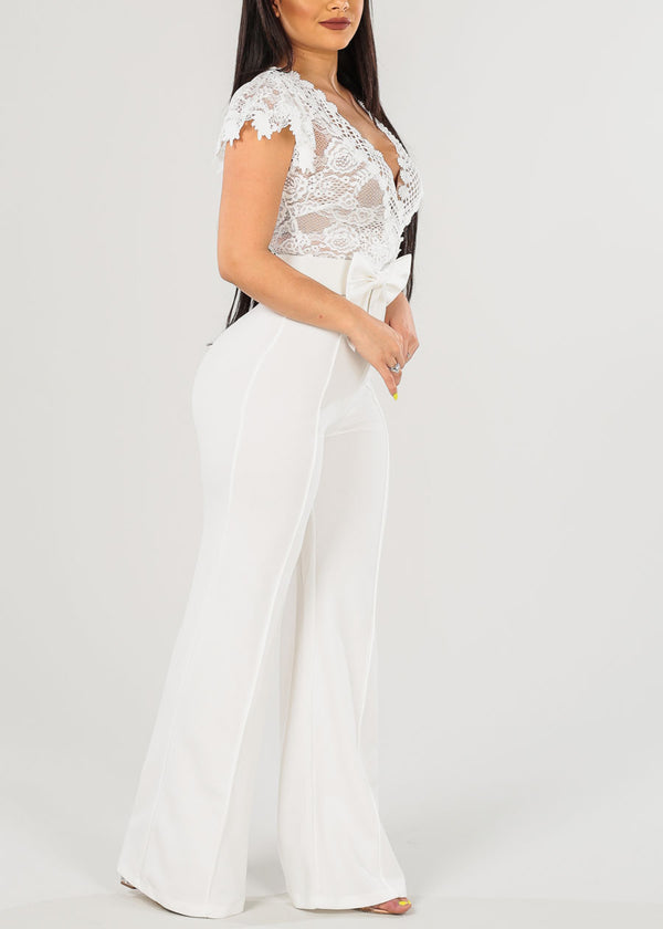 Sexy Belted White Jumpsuit