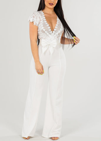 Image of Sexy Belted White Jumpsuit