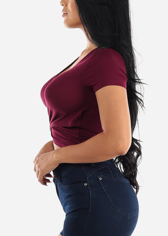 Short Sleeve Burgundy Wrap Front Top