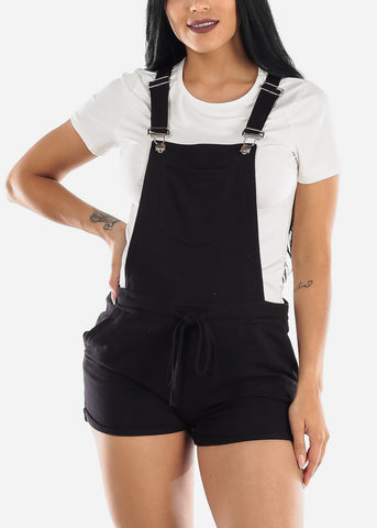 Casual Sleeveless Black Short Overall