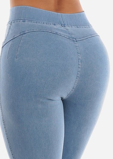 Pull On Butt Lifting Light Blue Jegging Skinny Pants