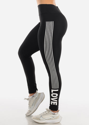 "Image of Activewear Black Stripe Leggings ""Love"""
