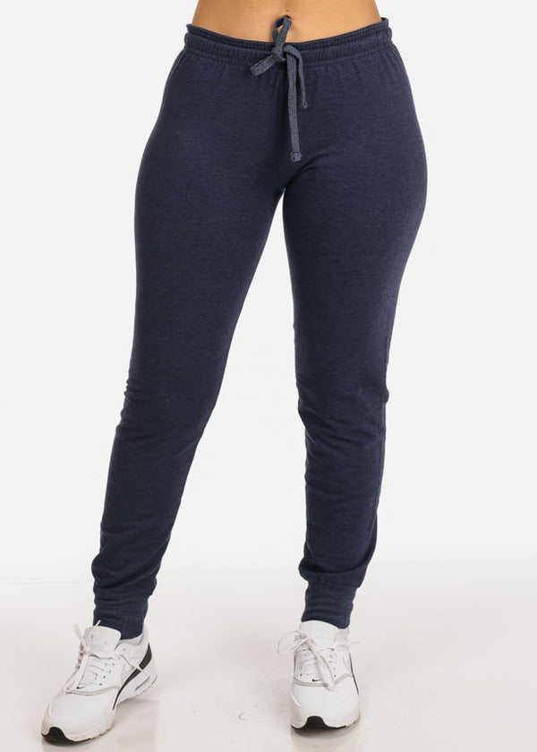 Low Rise Heather Navy Jogger Pants