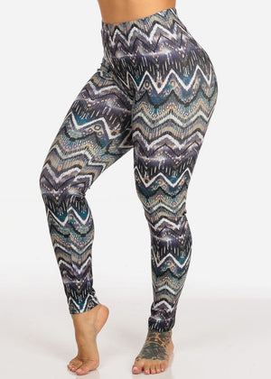 Teal Geometric High Rise Leggings