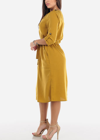Gold Button Down Shirt Dress