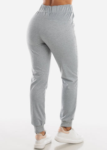 Light Grey Drawstring Waist Jogger Pants