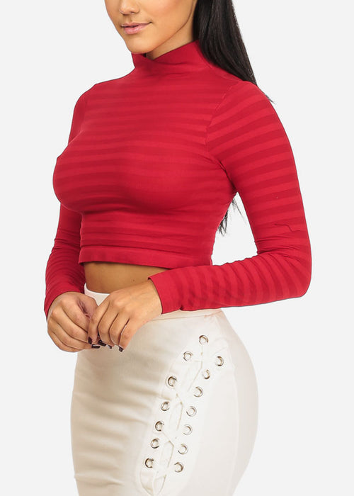 One Size Red Stripe Crop Top