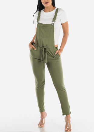 Casual Sleeveless Olive Overall