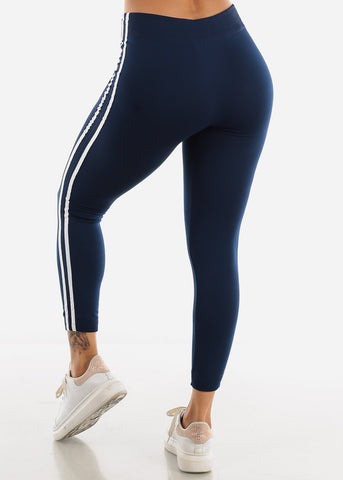 2 Stripe Navy Wide Waist Leggings