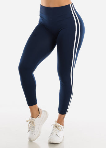 Image of 2 Stripe Navy Wide Waist Leggings