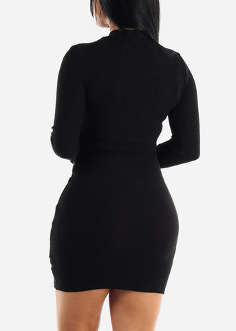 Image of Black Bodycon Thin Sweater Dress