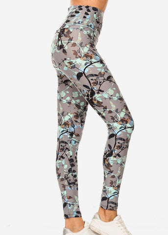 Activewear Grey & Mint Floral Leggings