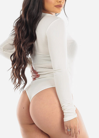 Image of Button Detail White Ribbed  Bodysuit