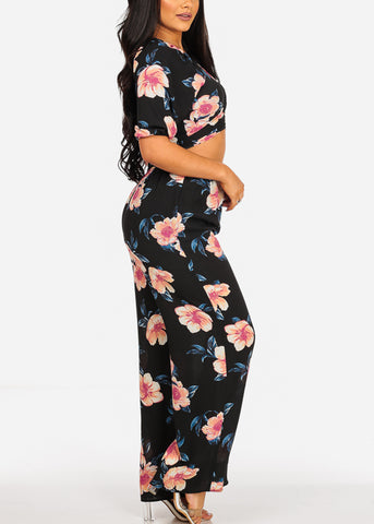 Tie Front Crop Top And High Rise Black Floral Print Pants (2PCE SET)