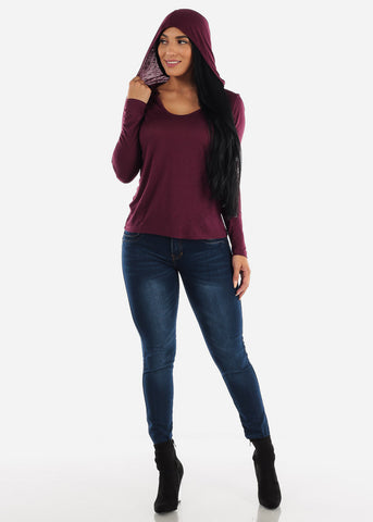 Long Sleeve Burgundy Hooded Top