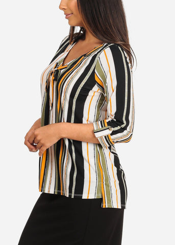 Women's Junior Ladies Dressy Stylish Going Out Cute Green Stripe V Neckline Design Front Blouse Top