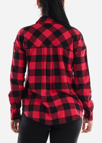 Image of Black & Red Half Button Up Plaid Shirt