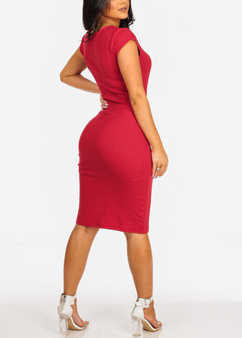 Image of Sexy Clubwear Short Sleeve V Neckline Red Bodycon Midi Dress