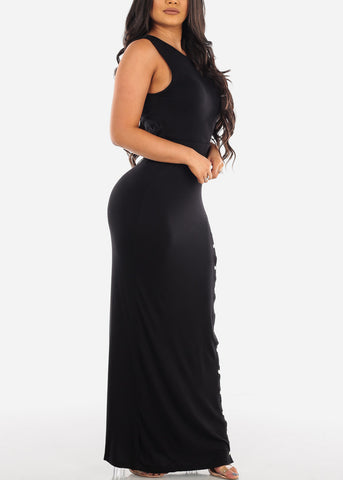 Image of Sexy Casual Going Out Brunch Date Super Cute Black Maxi Long Dress With Slit