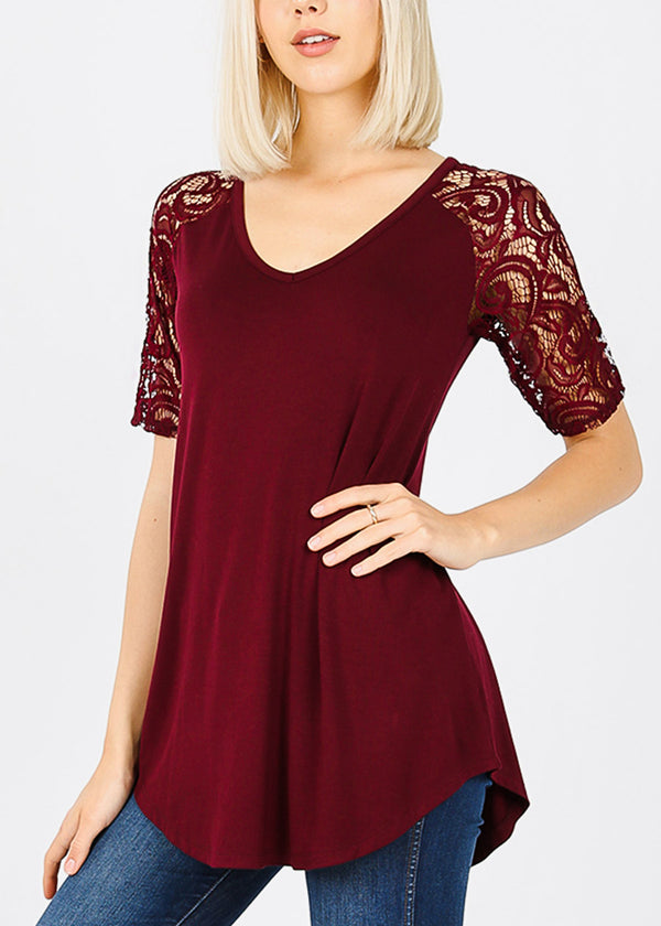 Floral Lace Sleeves Burgundy Tunic Top