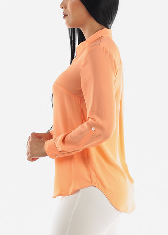 Image of Peach Button Up Top