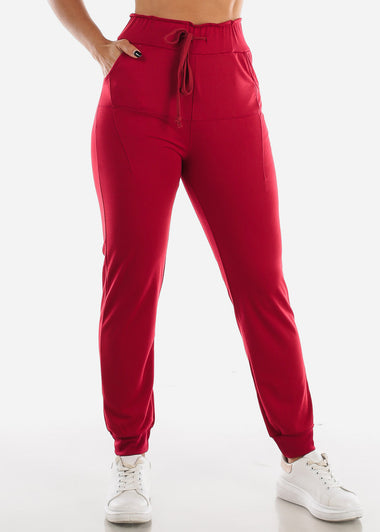 Red Drawstring Waist Jogger Pants