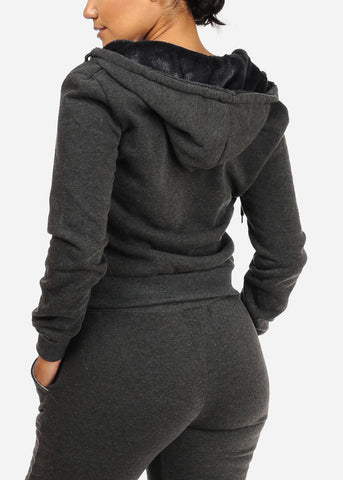 Image of Cozy Charcoal Sweater W Fuzzy Hoodie