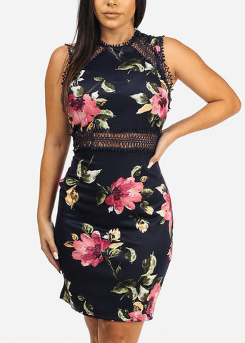 Image of Floral Print Navy Dress