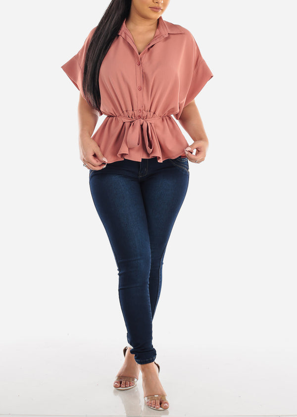 Lightweight Button Up Mauve Top