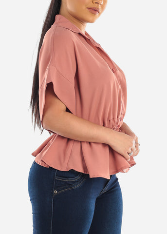 Image of Lightweight Button Up Mauve Top