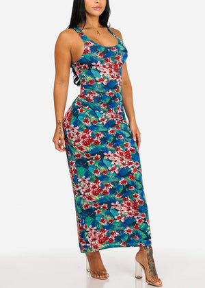 Casual Teal Floral Maxi Dress