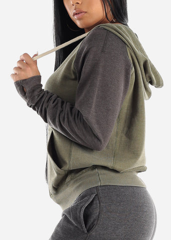 Image of Olive & Grey Fleece Hoodie