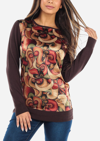 Image of Printed Long Sleeve Brown Sweatshirt