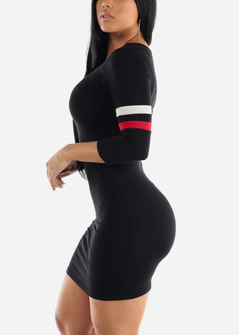 Stripe Sleeves Black Bodycon Mini Dress