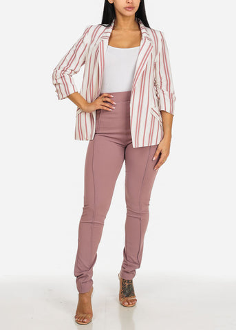 Image of Mauve Stripe Open Front Blazer