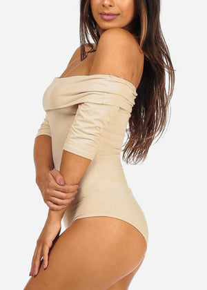 Sexy Off Shoulder Oatmeal Bodysuit