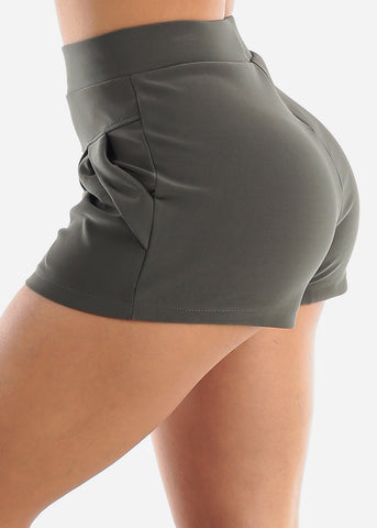 Image of Olive High Rise Dress Shorts