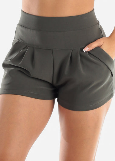 Olive High Rise Dress Shorts
