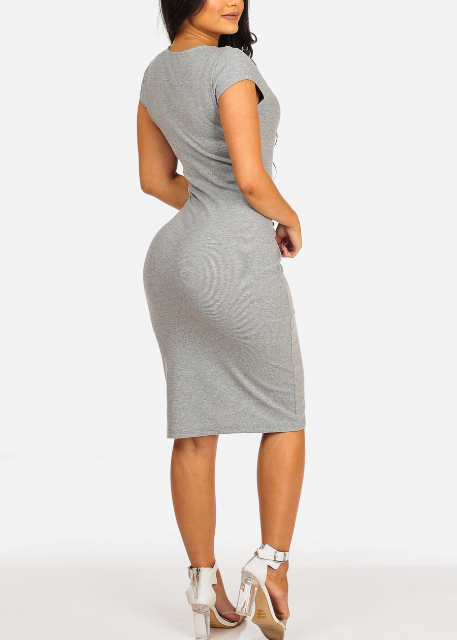Grey Bodycon Midi Dress
