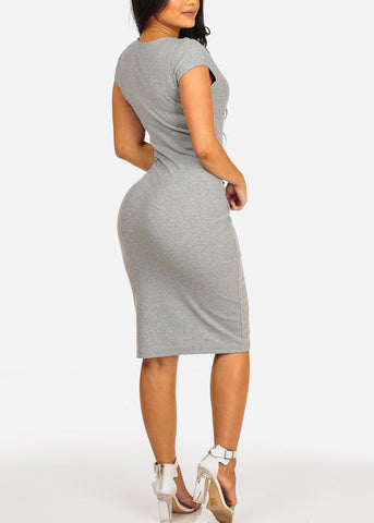 Image of Sexy Clubwear Short Sleeve V Neckline Grey Bodycon Midi Dress