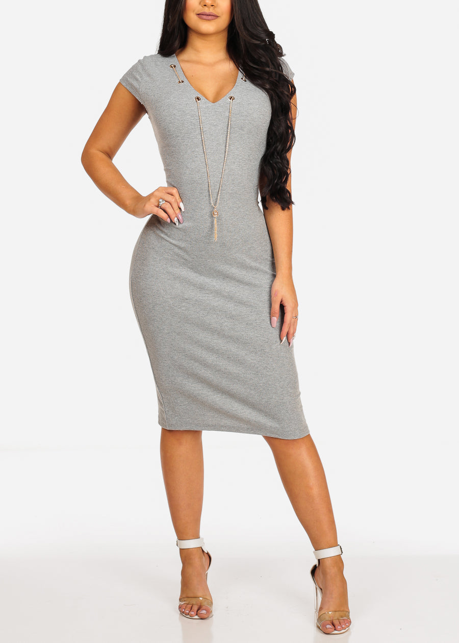 Sexy Clubwear Short Sleeve V Neckline Grey Bodycon Midi Dress