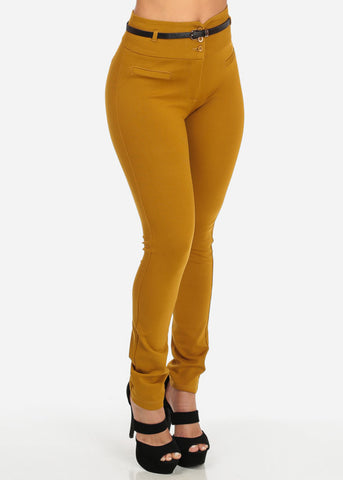 Image of Belted Mustard Skinny Pants