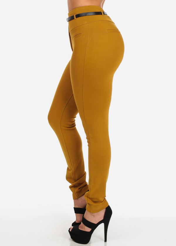 Cute Stylish Dressy Mustard High Waisted Skinny Pants With Belt