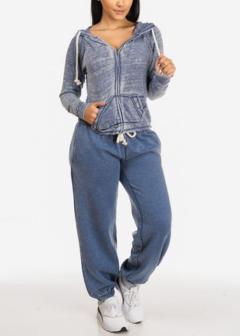 Image of Blue Low Rise Jogger Pants